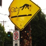 Bike Hazard Sign - Portland OR