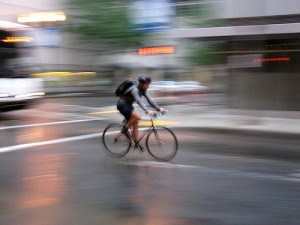 Commuter in rain