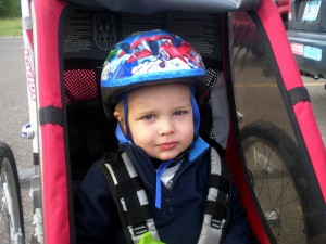 child in bike helmet