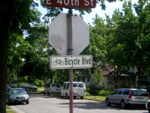 Minneapolis bike boulevard sign